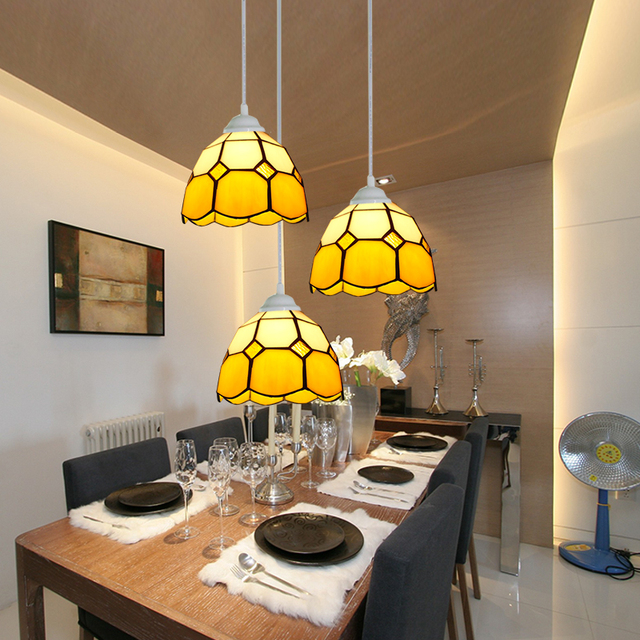 Mediterranean Tiffany Style Stained Glass Pendant Light For Bar Dining Room Coffee Hanging Lamp E27 110