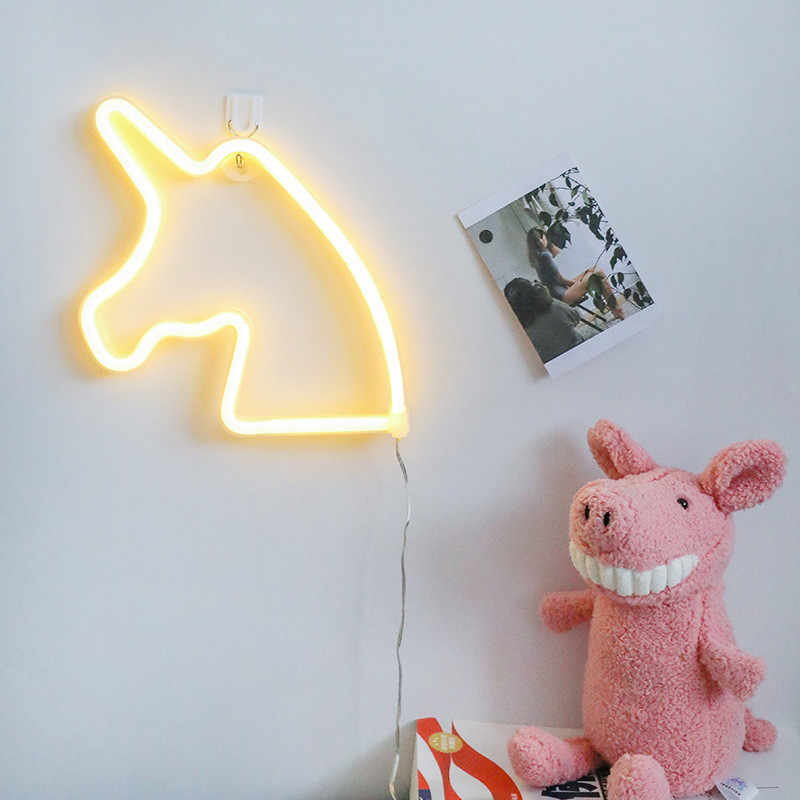 2018 Neon Sign Light Star Unicorn Shape Design Room Wall Decorations Home Love Ornament Coffee Bar Mural Crafts Home Decor Lamp