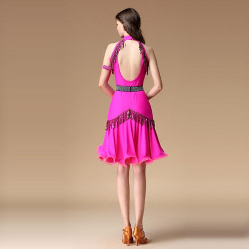 Nouveau Sexy col en V profond femmes danse latine robe danse latine pratique Costume adulte Performance jupe 4 pièces tenue noir