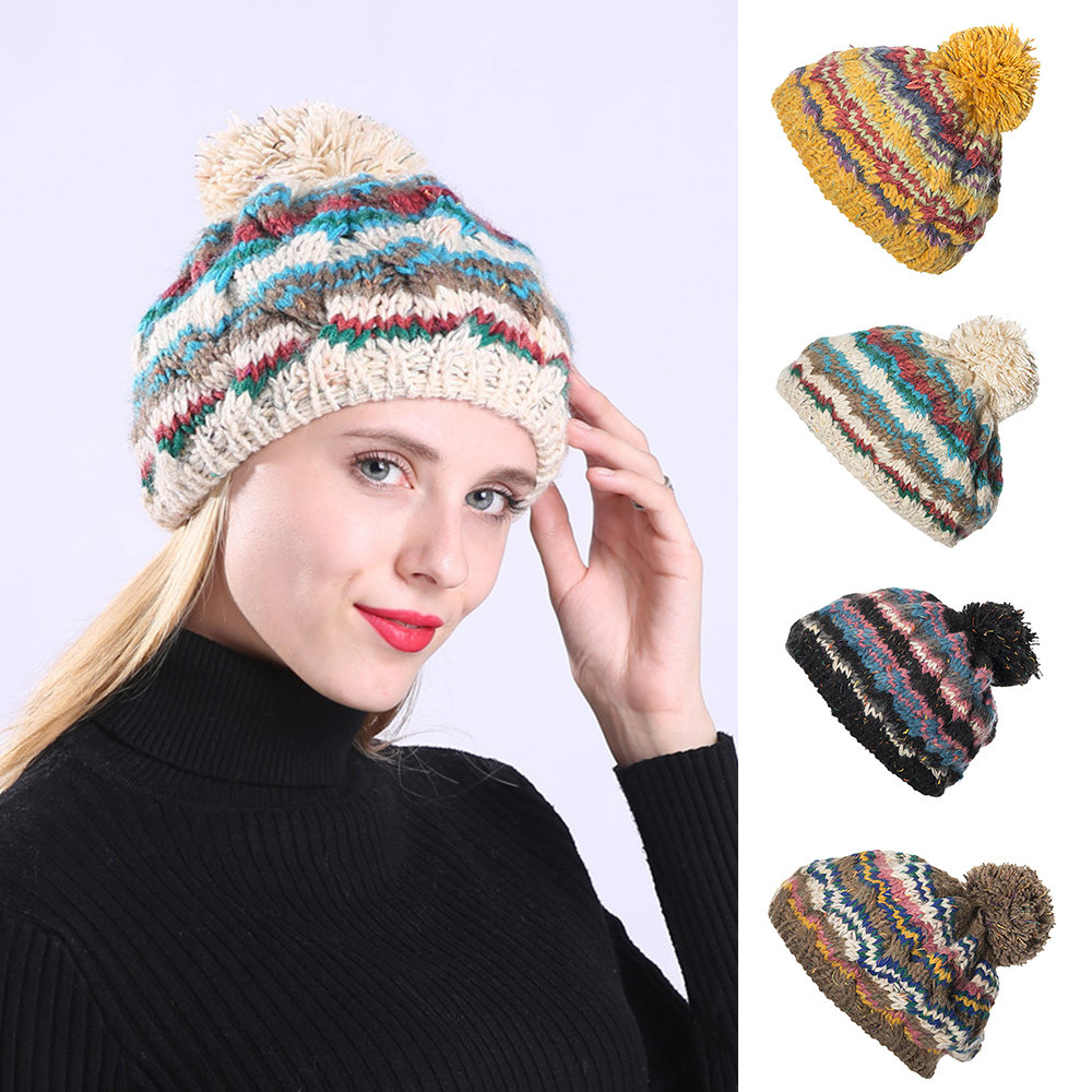 2323a92d265 Cable Knitted Bobble Hat Plain Mens Womens Beanie Warm Winter Pom Wooly Cap  funny hat woman hats winter accessories