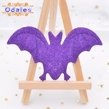 30Pcs Large Purple Bat Patches for DIY Crafts Halloween Party Padded Felt Appliques Sewing on Clothes Wall Ornament