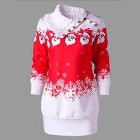 M 2XL Womens Casual Dresses Christmas Happy Santa Claus Print Turn Down Collar Buttons Sweatshirt Pullovers Vestido Autumn Dress