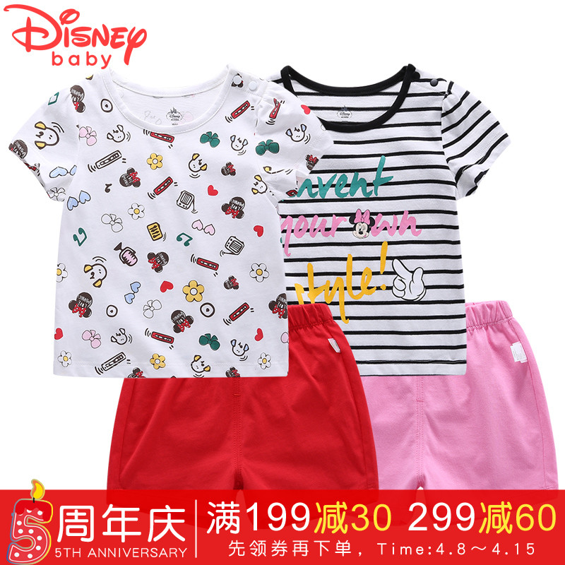 Disney children set t-shirt shorts+pants Mickey mouse baby girl clothes fashion cartoon lovely tshirt cotton summer dress pants 2pcs children outfit clothes kids baby girl off shoulder cotton ruffled sleeve tops striped t shirt blue denim jeans sunsuit set