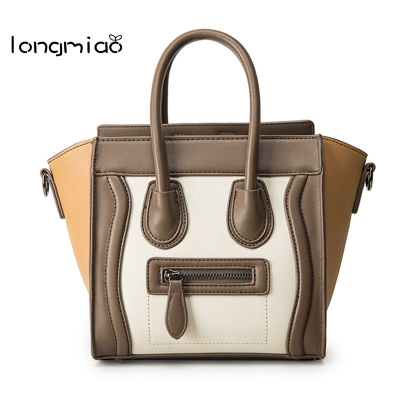 longmiao Brand Trapeze Smiley Tote Bag Luxury PU Leather Women Handbag Shoulder Smile Face Designer Crossbody Bags Bolsos Mujer women designer leather smiley trapeze handbag luxury lady smiling face purse shoulder bag girl crossbody bag sac femme neverfull