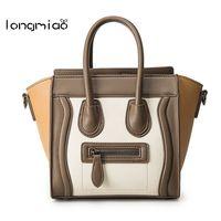 longmiao Brand Trapeze Smiley Tote Bag Luxury PU Leather Women Handbag Shoulder Smile Face Designer Crossbody Bags Bolsos Mujer