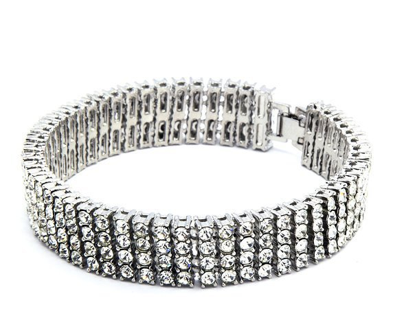 """Men's Black Gold silver color  Finish 4 Row Crystal Bracelet 8"""" 14mm Rhinestone Iced Out Hip Hop Bling Bracelet Cool Jewelry"""
