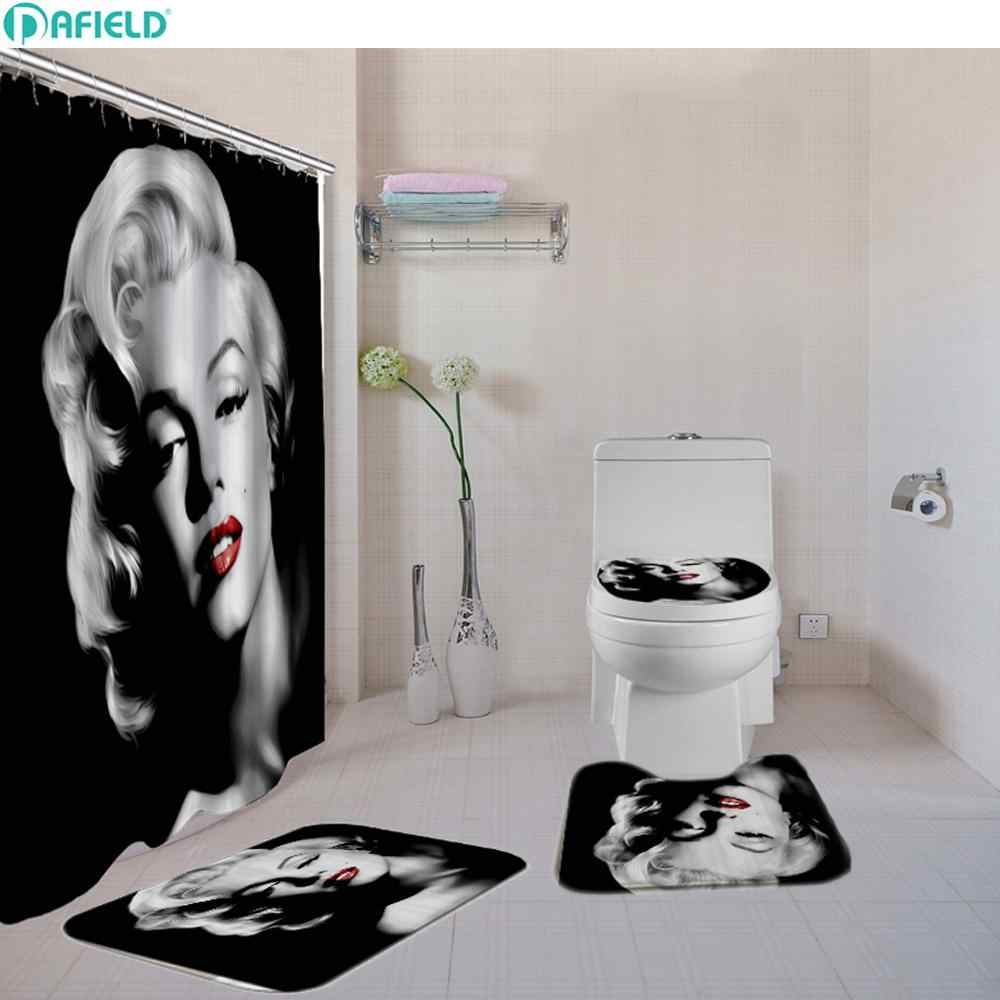 . 4 Pcs Set Sexy Marilyn Monroe Bathroom Shower Curtain Set Toilet Cover Bath  Mat Set Fabric Shower Curtains Bath Rug Set Hooks