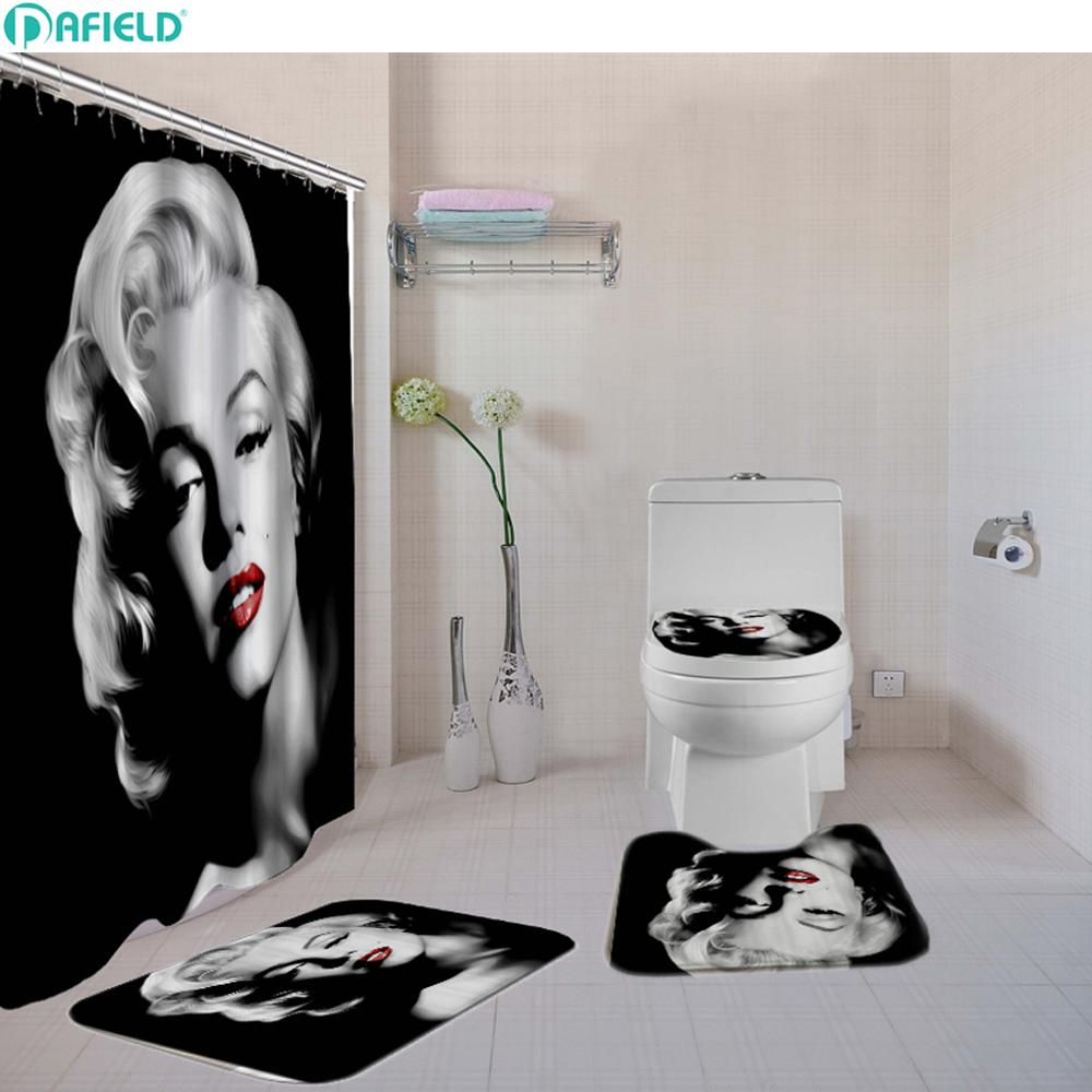 Polyester salle de bains Rideau de douche african beauty Femmes DECOR Tapis de bain Tapis Crochets