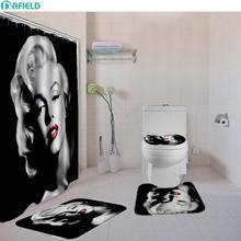 4ピース/セットセクシーな女性浴室のシャワーカーテンセットトイレカバーバスマットセット生地のシャワーカーテンバス敷物セットフック白/黒