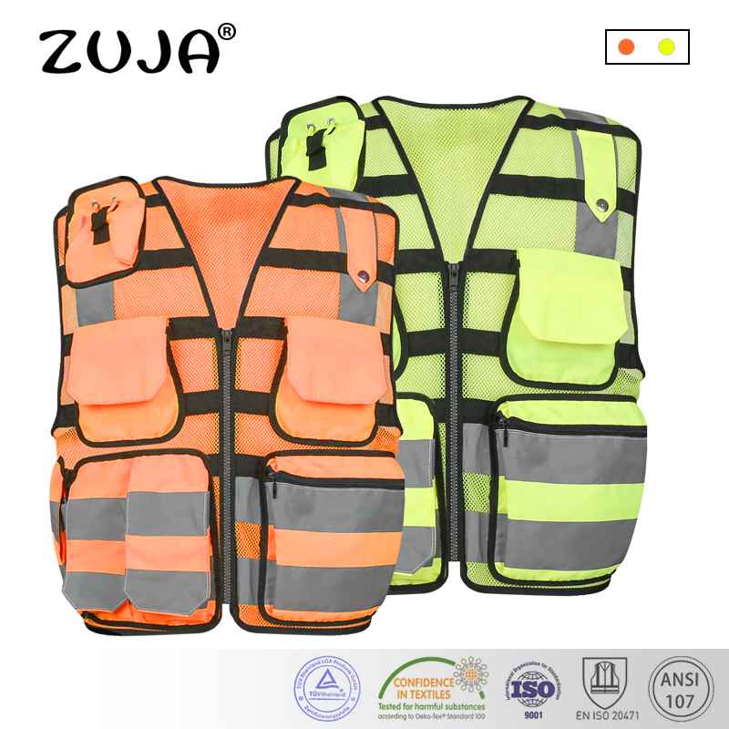 High Visibility Reflective Men Women Breathable Safety Vest with Pockets Traffic Protective Workwear new style breathable mesh high visibility reflective traffic safety cycling vest printable words logo