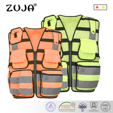 High Visibility Reflective Men Women Breathable Safety Vest with Pockets Traffic Protective Workwear  high visibility reflective safety vest reflective vest multi pockets workwear safety waistcoat traffic warning service safety