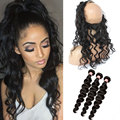 360 Lace Frontal Closure With Bundles Loose Curly Wave Bundle With Frontal Brazilian Virgin Hair With Closure Lace Frontal Weave