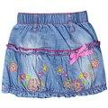 1-4 лет девушки вышивка мини джинсовые Юбки с цветком и звездных моделей лук дети девушки Онлайн повседневная юбки XML-22930