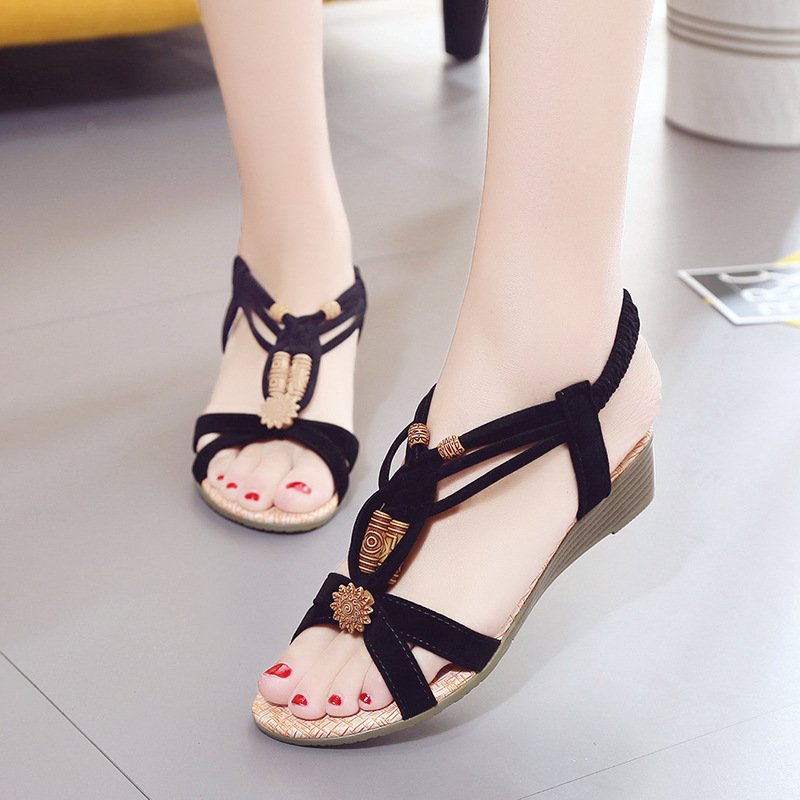 Ladies Sandals 2018 New Women Sandals Casual Flat Shoes Fashion Peep Toe Summer Beach Sandals String Bead Bohemian Sandals xiaying smile new summer women sandals casual fashion shoes bohemian style flats ladies hollow string bead flora slip on shoes