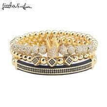 3pcs/Set Luxury men Crown Bracelets CZ Ball crown Charm copper beads Braided Braiding bracelets & bangles for Men Jewelry