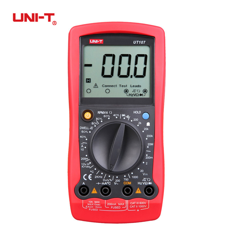 UNI-T UT107 LCD Automobile Digital Handheld Multimeter Manual Range AC/DC Voltmeter Tester with DWELL,RPM,Battery Check Meter