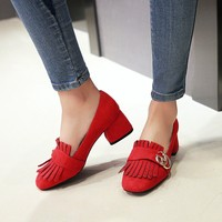 Big Size 9 10 11 12 ladies high heels women shoes woman pumps Suede fringed metal ornamental thick heeled single shoes