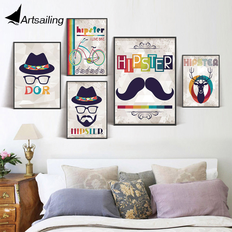 Modern Nordic deer Beard uncle Bicycle Art Canvas Art Print Poster Wall Pictures for Home Decoration Painting No Frame
