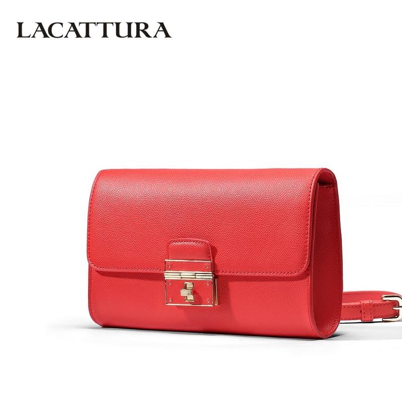LACATTURA Luxury Small Clutch Women Messenger Bags Designer Leather Handbag Lady Flap Shoulder Bag Crossbody for Girls
