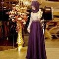 2016 Vestidos de Noite A Linha de Mangas Compridas Roxo Hijab Muçulmano Islâmico Dubai Abaya Kaftan Vestido de Noite Longo Vestido Formal