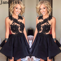 JaneVini Sexy Black Women Cocktail Dresses Plus Size See Through Lace Appliques Short Beaded Party Dress robe cocktail courte