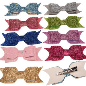 Image 5 - 50pcs Sequin Powder Bow Fashion Accessory Bowknot Allitagor Clip Cute Barrette Glitter Chic Hair Accessory Boutique Hairbow