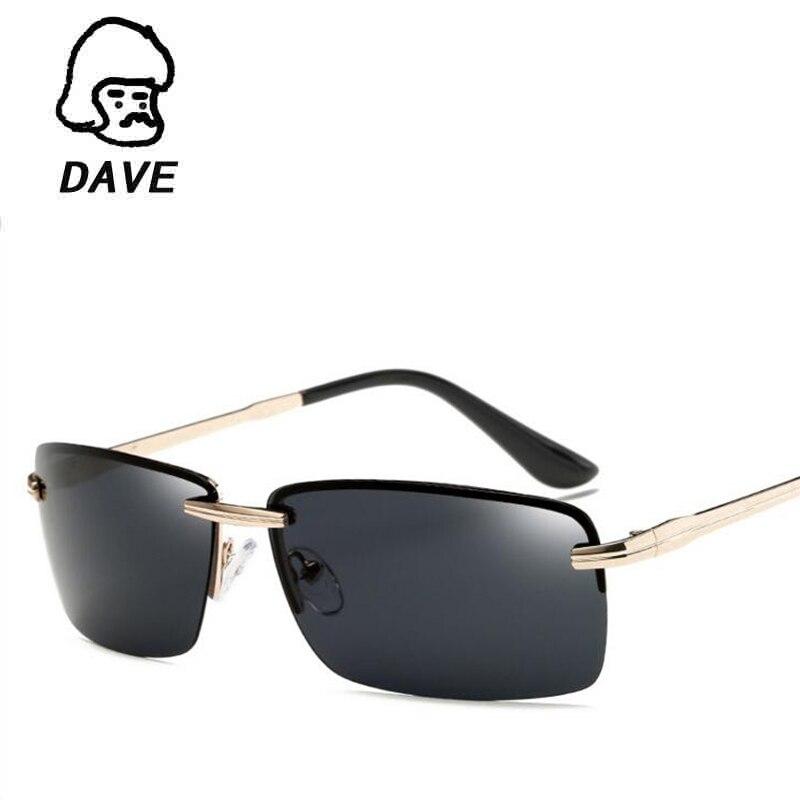 DAVE Retro Rimless sluneční brýle Pánské luxusní značky Polarizované sluneční brýle na brýle pro muže Brýle Oculos Lunetten UV400
