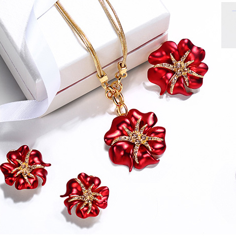 High Quality Enamel Flower Gold Plated Alloy Choker Necklaces Earrings Ring Crystal Set Fashion Jewelry Set