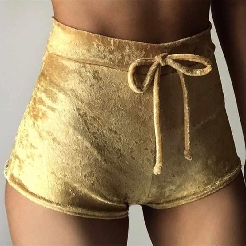 Kobiety aksamitna, zamykana na sznurek spodenki stałe wysokiej talii Skinny Booty szorty lato Sexy Sport siłownia Fitness krótki Feminino Pantalones