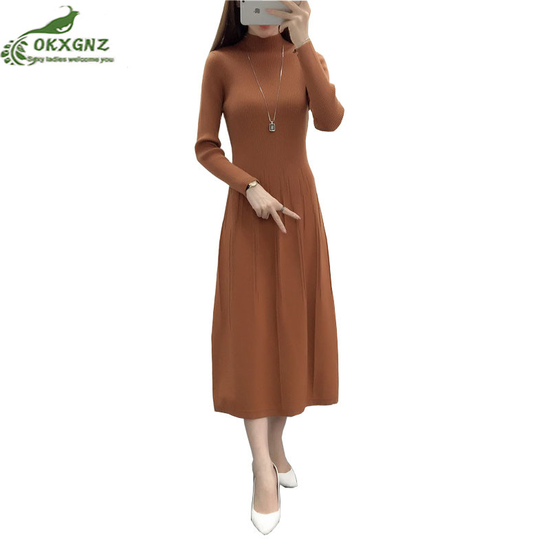 High quality autumn winter buds dress long-sleeved knit bottom sweater dress half-high collar was thin solid color dress female