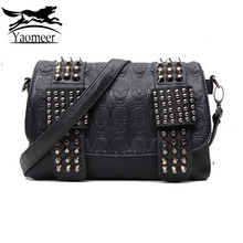 luxury handbags women bag designer pu leather women's bag rivet chain messenger shoulder bags female skull clutch famous brand