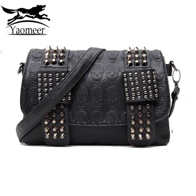 4c4a0936208 luxury handbags women bag designer pu leather women s bag rivet chain messenger  shoulder bags female skull