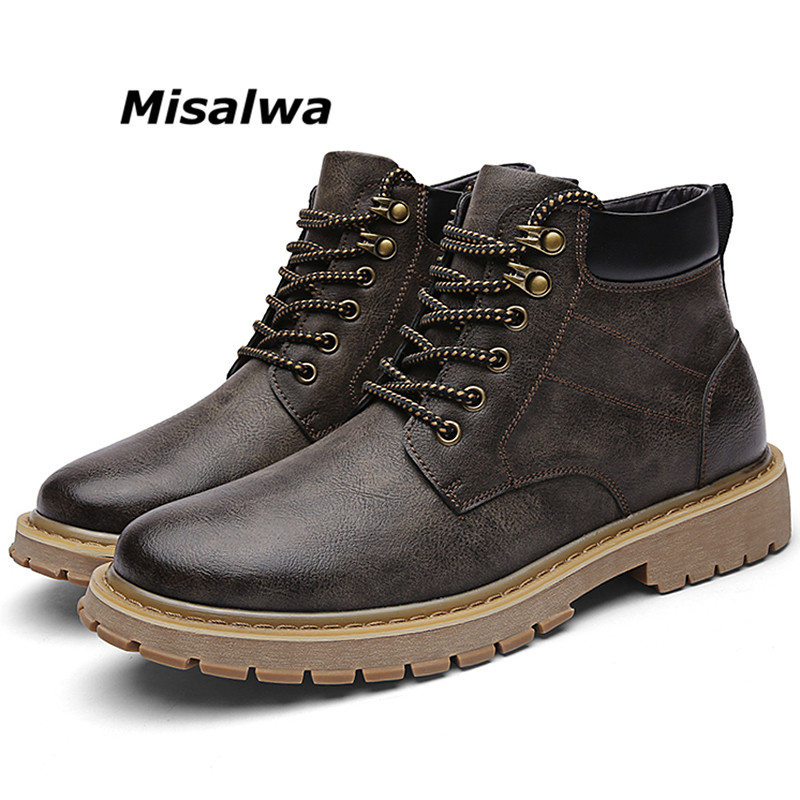Misalwa Mens Premium Chukka Newman Boot Casual Leather Lace up Relaxed Fit Work Round Toe Boot Man Safety Brown Timber Land Shoe