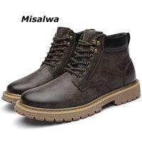 Misalwa Mens Premium Chukka Newman Boot Casual Leder Lace up Entspannt Fit Arbeit Runde Kappe Boot Mann Sicherheit Braun Holz land Schuh|Basic Stiefel|Schuhe -
