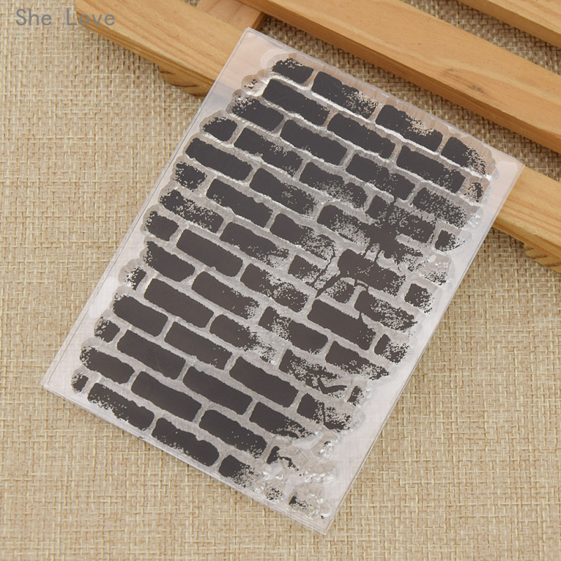 She Love Transparent Silicone Clear Stamp Wall Brick Pattern DIY Scrapbooking Card Making Handicrafts Decoration archetype transparent ver she