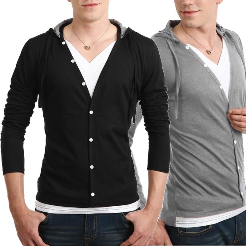 2018 Mens brand T-shirt Long sleeve Fake Two T Shirt V-Neck Slim Male T-Shirt Camisetas Fashion Hombre Homme Hooded T Shirts YL