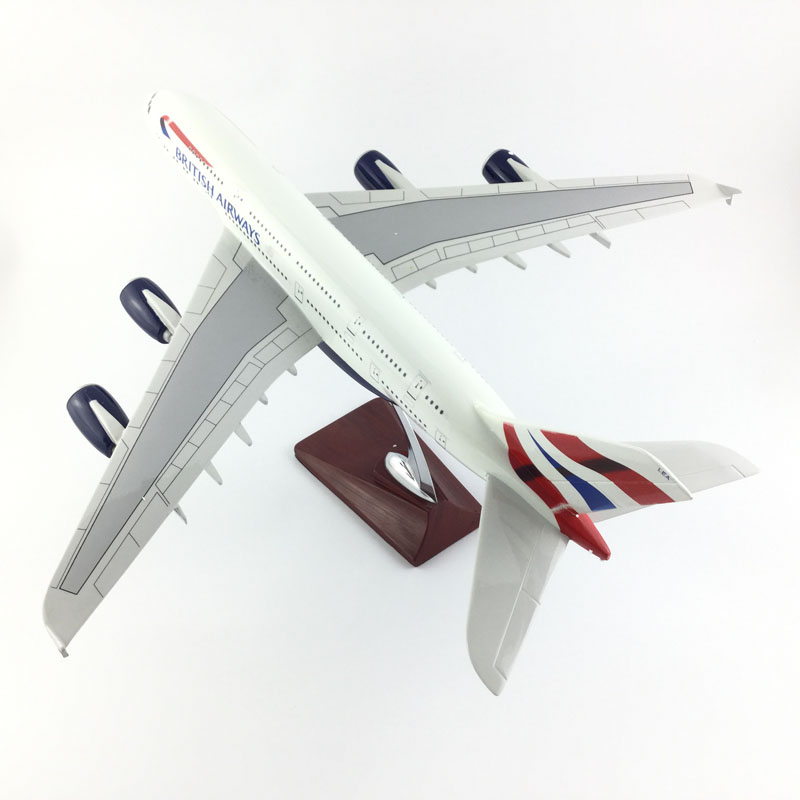 FREE SHIPPING 45-47CM BRITISH AIRWAY A380 METAL BASE AND RESIN MODEL PLANE AIRCRAFT MODEL TOY AIRPLANE BIRTHDAY GIFT