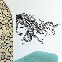 Hair Salon Sexy Girl Long Hair Vinyl Wall Decal Beauty Salon Hairdressing Mural Art Wall Sticker Barbershop Home Decoration