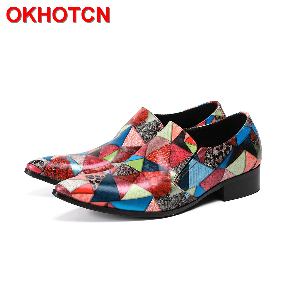 Fashion Men Wedding Shoes Pointed Toe Mixed Colors Men Dress Shoes Leather Triangle Pattern Zapatos Hombre New Design Party Shoe new fashion men shoe genuine leather lace up mixed colors man dress business casual shoes zapatillas deportivas zapatos hombre page 5