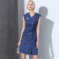נשים יוקרה בציר נקודה לבנה כחול dress גבירותיי משרד עבודה dress dress שבוע האופנה vestidos קפלים באיכות מותג