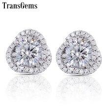 Transgems Flower Shaped Stud Earrings 14K White Gold Halo Type Center 1ct F Color Moissanite Diamond Push Back