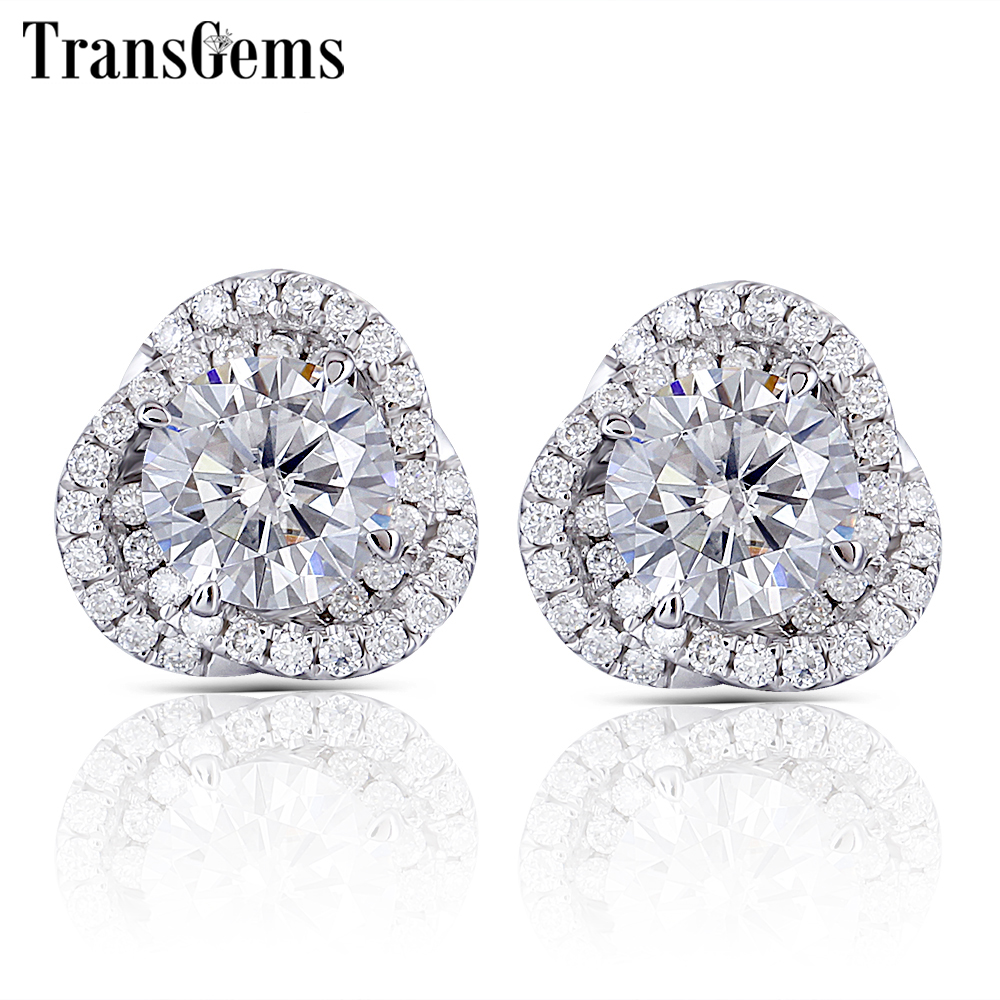 Transgems Flower Shaped Stud Earrings 14K White Gold Halo Type Cneter 1ct F Color Moissanite Diamond Earrings Push Back