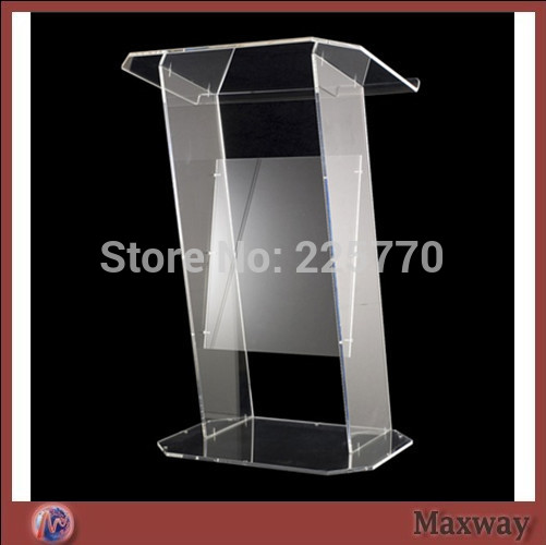 Multimedia Teaching Acrylic Lectern Brown Podium / Glass Lectern Plexiglass