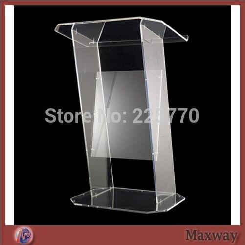 Multimedia Teaching Acrylic Lectern Brown Podium / Glass Lectern Plexiglass
