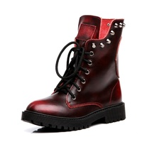 Boots Women Genuine Leather Shoes Bota Feminina Punk Skull Rivet Martin Boots Botines Mujer 2019 Red Black