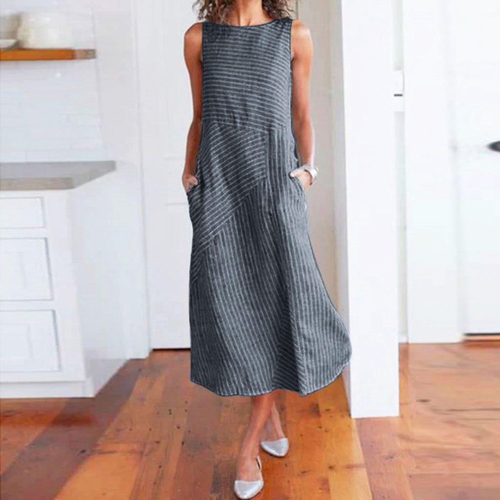 HTB1sAHvXEWF3KVjSZPhq6xclXXaX - Women Summer Dress Casual Striped Sleeveless Maxi Dress Crew Neck Linen Pocket Party Long Dresses