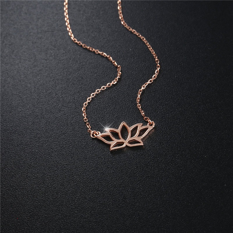2019 new lancharmed womens necklace rose gold plated 925 sterling silver louts fllower charm pendant necklaces