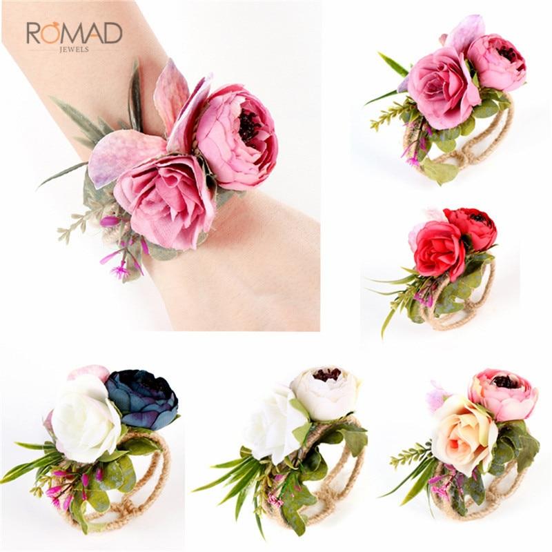 Romad Bridesmaid Bride Hand Flowers Wrist Corsage Woven Straw Cuff Bracelet Wedding Accessories
