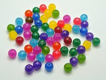 200 Mixed Color Acrylic Smooth Round Beads 8mm Imitation Jade