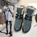 De alta Calidad! 2016 botas de nieve de cuero genuino mujeres de la plataforma zapatos de marca hecha a mano más cálidas botas de piel de invierno gris negro